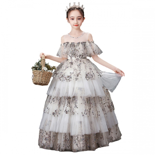 Flower Girl Dress Sequined Pageant Ball Gown Kids Long Sleeves Christmas Birthday Party Dresses