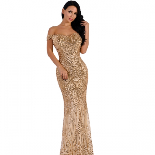 Women's Off Shoulder Sequined Evening Party Maxi Dress for Prom
