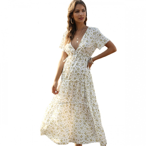 Women's Summer Bohemian Style Polka Dot Long Skirt Dress Elegant Ruffle Cap Sleeve Summer A-line Empire Waist Long Dress