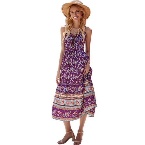 2021 spring and summer women's casual loose bohemian floral dress spaghetti belt long maxi summer beach swing dress