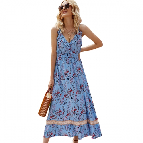 2021 women's floral dress sexy casual hanging wide loose mid-length dress retro summer beach skirt