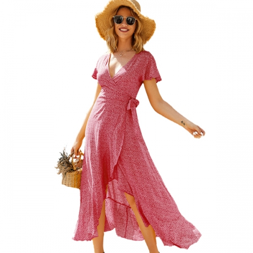 2021 Spring and summer Women's Bohemian Floral Printed Chiffon Wrap V Neck Short Sleeve Split Beach Party Maxi Dress