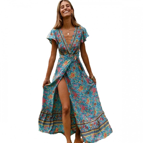 Women's Summer Short Sleeve Floral Print Bohemian Beach Waist Tie Wrap Long Flowy Dress with Slit