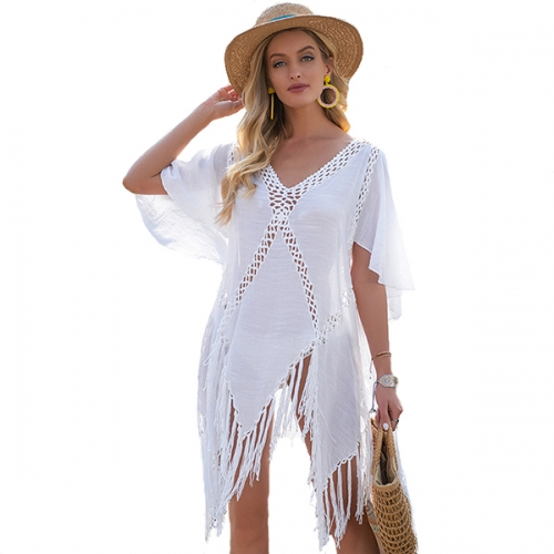 2021 New  Beach Swimsuit Cover Ups for Women Tassel Bikini Beachwear Sheer Bathing Suit Coverups Plus Size