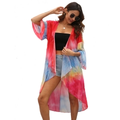 Women's Floral Print Kimono Bikini Cover Up Sheer Chiffon Loose Cardigan