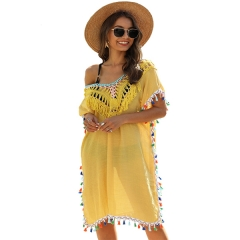 Women's Crochet Chiffon Tassel Swimsuit Beach Bikini Cover Ups for Swimwear