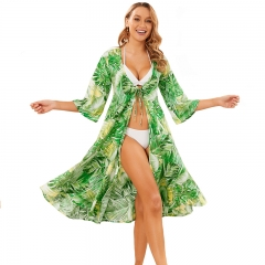 Women Drawstring Waist Swimsuit Cover Up Side Split Beach Kimono Cardigan