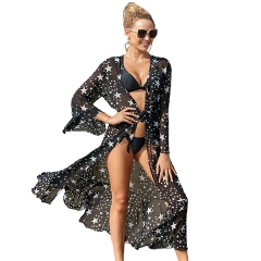 Women's Summer Long Sheer Floral Kimono Cardigan Chiffon Bikini Beach Cover Up