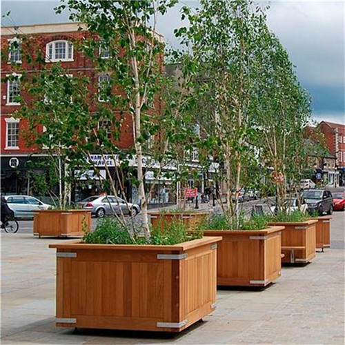 large tree pots outdoor street wood slat flower planter