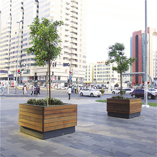 large tree pots outdoor street wood flower planter