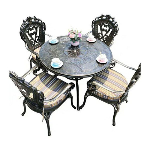 Factory Manufacture Cast Aluminum Leisure European Table And Chair Furniture