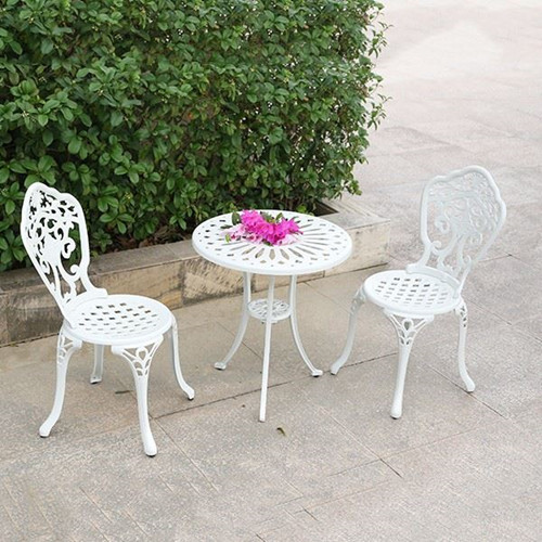 Outside Beautiful Villa White Cast Aluminum Chair
