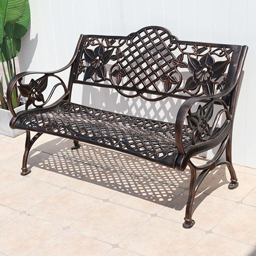 Cast Aluminum Backrest Elegant Park Chair