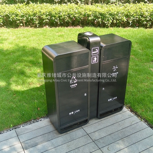 Metal outdoor dustbin compartment recycle bin