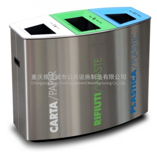 outdoor furniture garden stainless steel classification trash bin city street metal dust bin