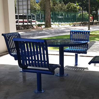 Singapore order a number of outdoor tables and chairs, stainless steel benches