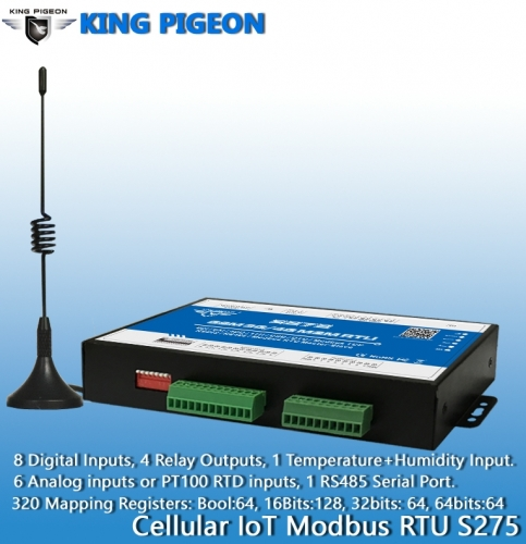 Cellular IoT Modbus RTU (8DIN,6AIN/PT100,4Relay,1TH,USB,RS485,320 Extend I/O tags)