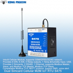 Dual-Sim Cellular IoT RTU (8DIN,6AIN/PT100,4Relay,1TH,USB,2 RS485,320 Extend I/O tags)