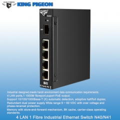 Rugged Industrial Ethernet Switch (4LAN, Dual Power Inputs, PoE Output)
