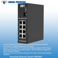 Rugged Industrial Ethernet Switch (8LAN 1 Fibre port,Dual Power Inputs, PoE Output)