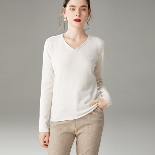 Cashmere Sweater V (White)