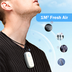 Aviche new technology mini Rechargeable ionizer necklace portable air purifier for smoke M5 white