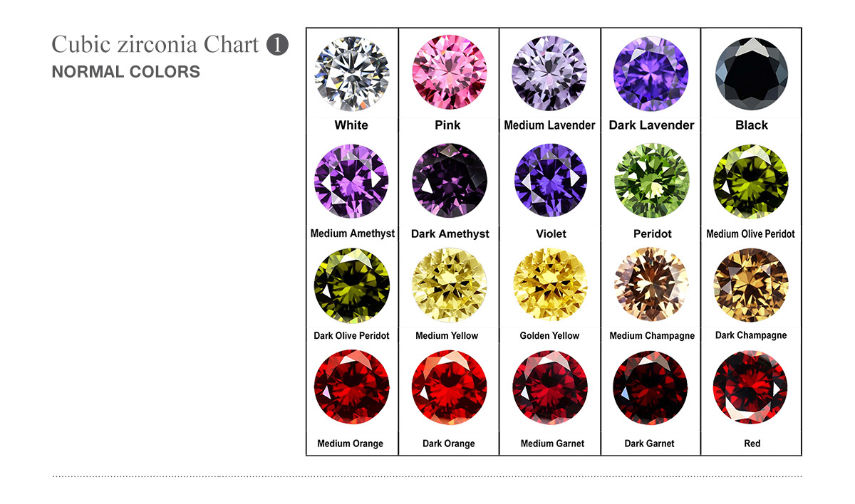 Cubic zirconia normal color chart