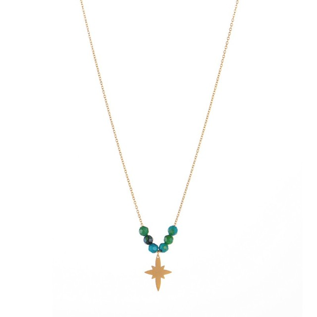 Stainless steel north star pendant necklace in yellow gold plating