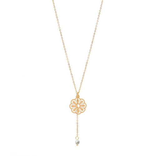 Flower charm with single pearl drop lariat necklace