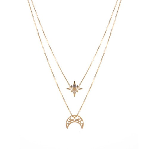 Stainless steel Northern star and moon necklace in gold plating