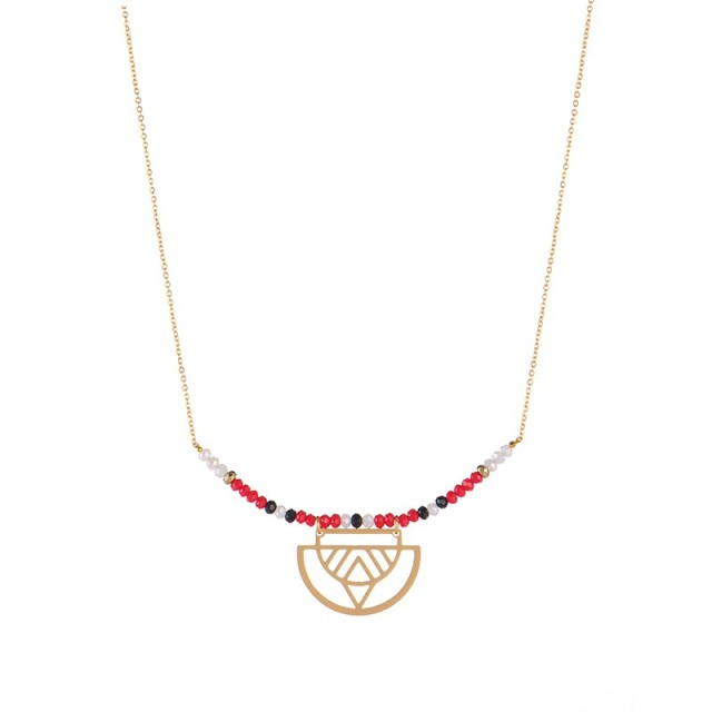 Triple color beaded bar with ethnic charm necklace