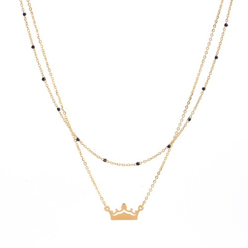 Crown pendant with black resin bead chain layered necklace