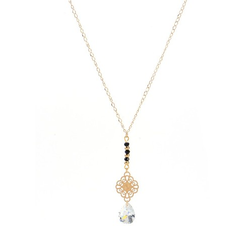 Pear cubic zirconia drop with Mandala disc necklace