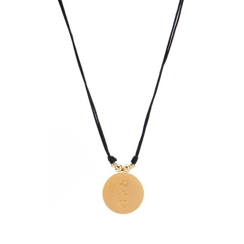 Cord necklace with gold plated disc three symbols sun wave heart