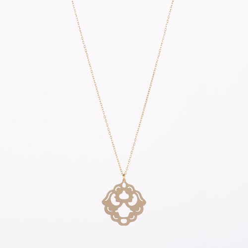 Stainless steel ethnic emblem pattern pendant long necklace