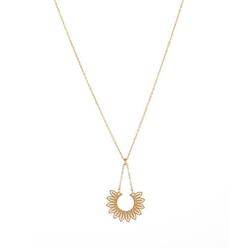 Stainless steel Open Sunflower necklace in yellow gold plating