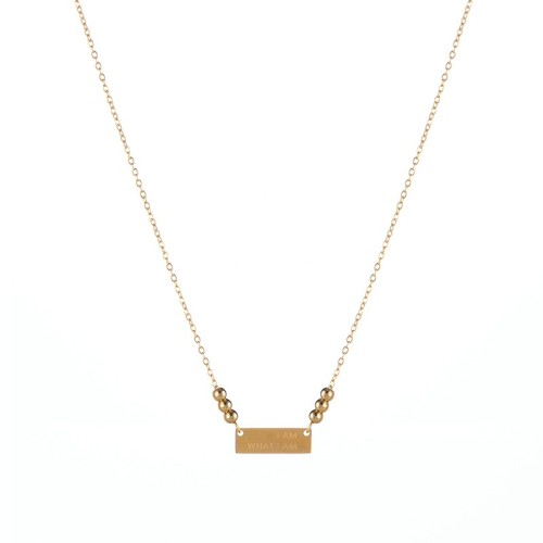 Power precept horizontal tag choker necklace