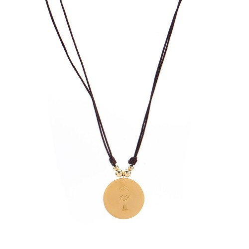 Cord necklace with gold plated disc three symbols hill sheep tree