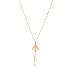 Ethnic fan charm with double pearl drops lariat necklace