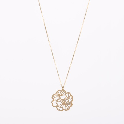 Openwork Hawaiian flower necklace in gold plating stainless steel