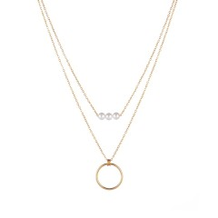 Triple pearl bead and circle drop layered necklace