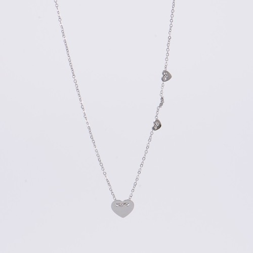 Stainless steel necklace with four heart charms