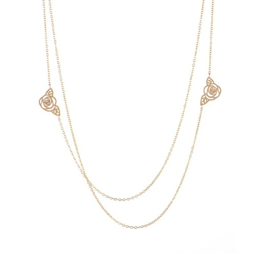 Double rose flower layered necklace in gold plating