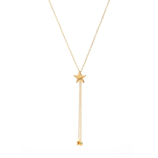 Central star and tassel with ball and star drops lariat necklace