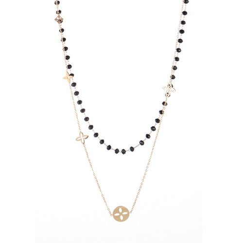 Monogram flower charms and black glass bead chain layered necklace
