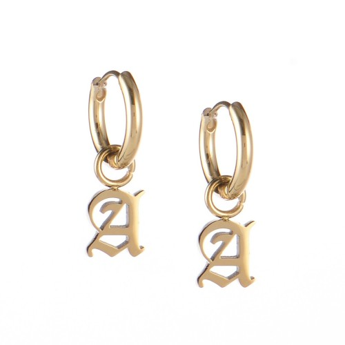 Gold plated gothic initial A huggie earrings in stainless steel