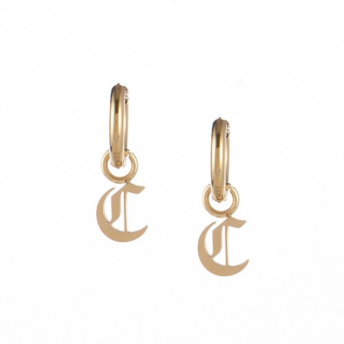 Gold plated gothic initial C huggie earrings in stainless steel