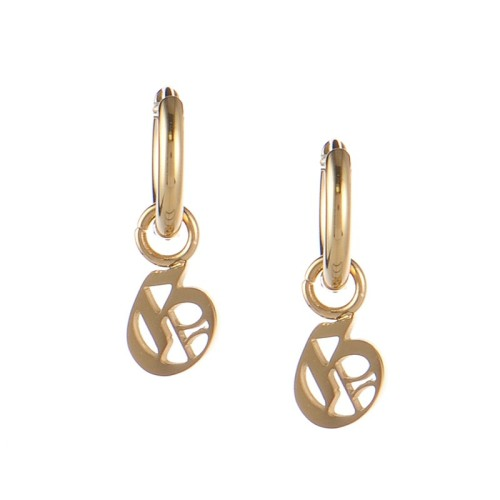 Gold plated gothic initial G huggie earrings in stainless steel