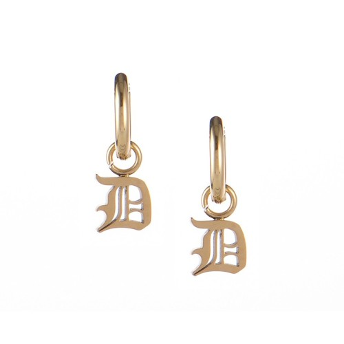 Gold plated gothic initial D huggie earrings in stainless steel