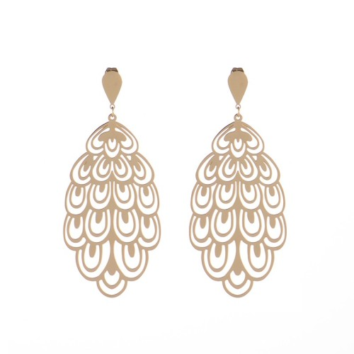 Polanska bizuteria Large beautiful openwork feathers drop earrings